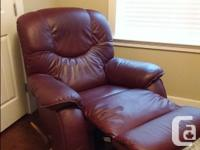 Genuine Lazy Boy. ROCKING, LEATHER recliner. Great