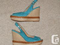Made in Spain. Genuine suede (leather) turquoise