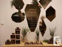 Geometric copper mirrors available from our Summer home