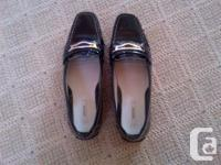 Women's Geox black patent leather shoes, size 8.5 for