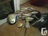 Lightly used, assorted golf clubs and bag. Not golfing