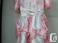Girls pink/white Satin Dress, party Dress 100%