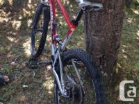 Large size frame, full suspension mountain bike, fox