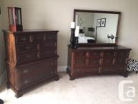 Solid mahogany, 4-poster bedroom suite for sale.