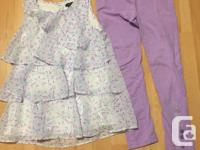 1 grey 2 piece outfit; 1 lilac 2 piece outfit. Legging