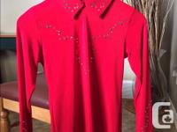 Stretchy rich red western riding show shirt for a girl