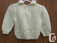 cute knitted yellow Sweater size 12-18M, the sweater