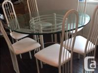"""Contemporary glass dining table (1"""" thick) - metal"""