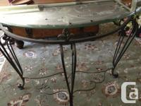 Ornate beveled glass top console table in a half-circle, used for sale  British Columbia