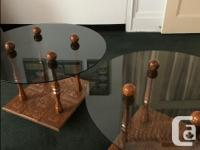 Custom made , carved wood tile, smoked glass top, end