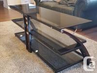 Glass TV Entertainment Stand with Rich wood sides and