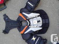 Goalie Pads $100 and Chest Pad $50, goalie skates $30