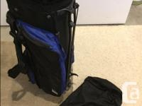 New condition, blue golf bag. Has the legs that come