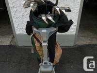 Tour select golf clubs with bag and cart.  Full set.