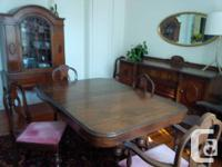 Antique Set circa 1930's, table 6 chairs with 2 leaf