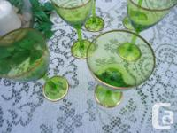 These Gorgeous Green Glass with Gold Rims Wine Goblets