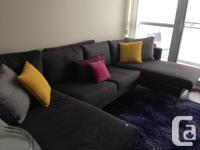 Beautiful large dark gray couch. Attached: 2 large sofa