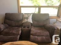 Laura Ashley $800 SET Distressed Micro suede sofa and