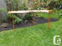 Hand finished very natural live edge display table,