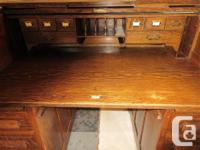 """THIS ANTIQUE ROLL TOP IS 52"""" WIDE, 34"""" DEEP & 44 1/2"""""""