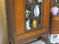 """THIS FLAT BACK CHINA CABINET IS 36"""" WIDE, 15"""" DEEP &"""