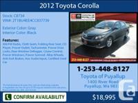2012 Toyota Corolla  4 Dr Sedan Mileage: 33886 This