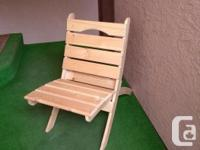 New, portable ,pine, wood chairs, are handmade on
