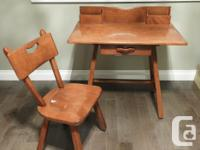 Solid maple writing desk/student desk with matching