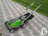 Very Good condition Greenworks electric mowers feature