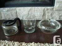 Set of 3 Glasses Items- Coffee Carafe/Decanter, Vase,