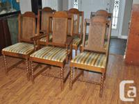 Set of 6 Vintage Barley Spin Dining Chairs. Made by