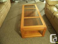 Timber as well as glass set of coffee table and side