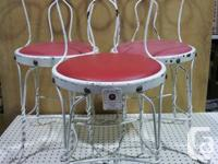 Set of 3 antique bent wire ice lotion parlor chairs,