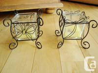Set of 2 Steel Candle light Holders w / Butterfly