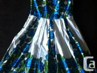 Spaghetti strap cotton Guess dress with blue and green