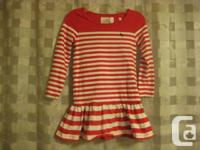 H & M - Red and White Striped Cotton Long Sleeved Dress