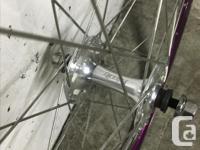 Custom built Halo Aerorage wheel set. Annodized purple.