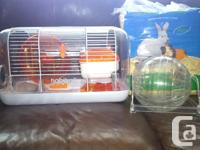 """Habitrail"" Hamster Cage with wheel, sleeping den, food"