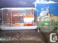 """Habitrail"" Hamster Cage with wheel, sleeping den, food"