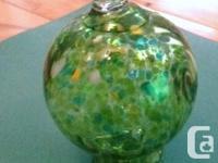 Hand Blown Art Glass Hummingbird Feeder Green with