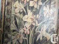 Two beautifully painted wooden panels with flowers,