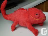 happy red chameleon gecko lizard stuffed toy animal has