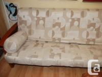 Sturdy hardwood sofa bed frame. Quality, durable fabric, used for sale  British Columbia