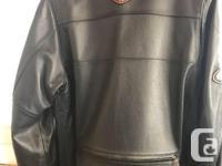 Harley Davidson leather bike jacket, sz Lg Tall,