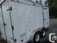 14 foot White work trailer c/w aluminum ladder racks
