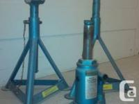 German made heavy duty axle stand and bottle jack for