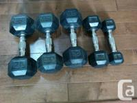 Available dumbbells: 2 x 20 lbs. ($30 for pair) 1 x 25