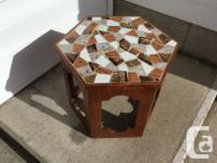 cute little hexagon table, compressed with a wood