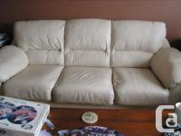 Beautiful set of soft pale yellow leather hide-a-bed