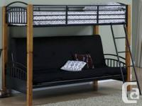 Good condition high end wood and metal futon bunkbed